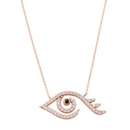 ροζ χρυσό κολιέ μάτι