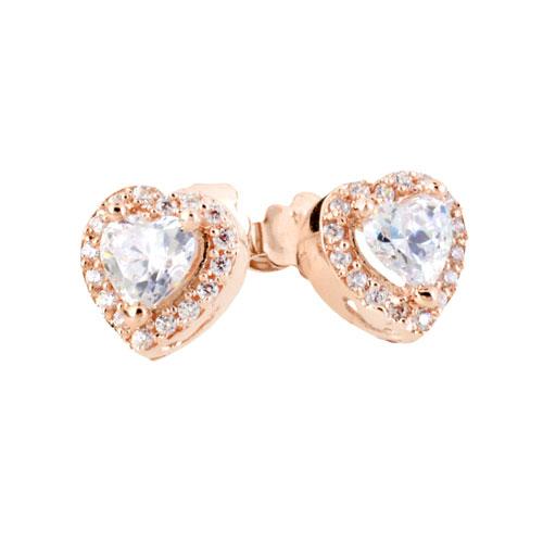 ροζ χρυσά σκουλαρίκια καρδιές