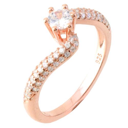 Ασημένιο μονόπετρο δαχτυλίδι 925 σε ροζ χρώμα 55afd2fc1c7