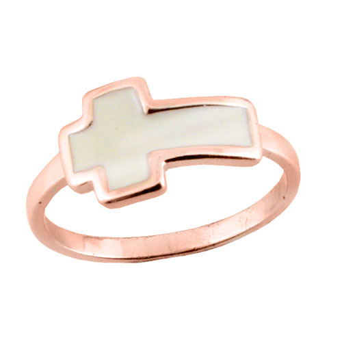 Ασημένιο δαχτυλίδι με σταυρό 925 σε ροζ χρώμα