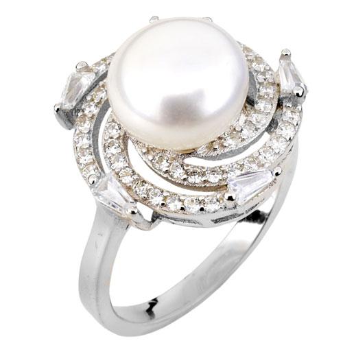Ασημένιο δαχτυλίδι 925 με μαργαριτάρι και ζιργκόν