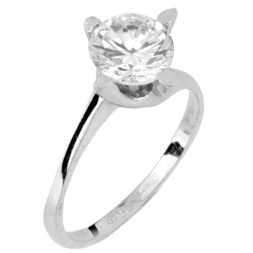 Ασημένιο μονόπετρο δαχτυλίδι 925
