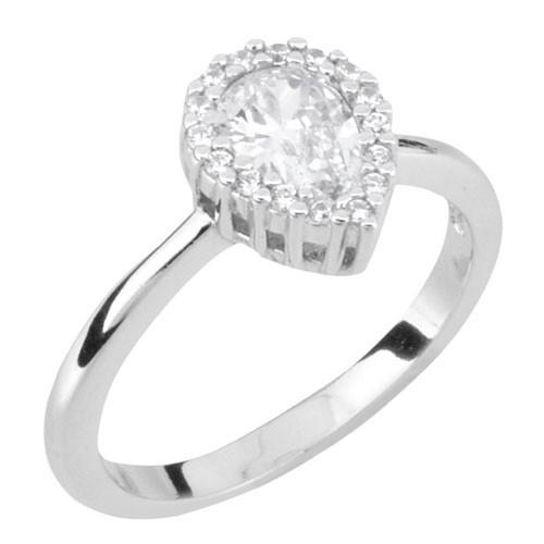 Ασημένιο δαχτυλίδι σταγόνα 925