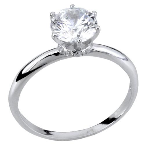 Ασημένιο μονόπετρο δαχτυλίδι 925 με ζιργκόν
