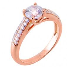 fc85d7659f Ασημένιο μονόπετρο δαχτυλίδι 925 σε ροζ χρώμα με ζιργκόν