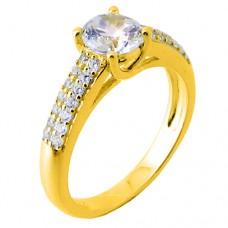b51b7af564 Ασημένιο επιχρυσωμένο μονόπετρο δαχτυλίδι 925