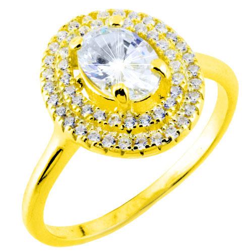 Ασημένιο επιχρυσωμένο δαχτυλίδι ροζέτα 925 με ζιργκόν