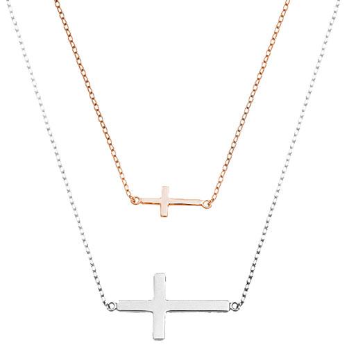 Ασημένιο κολιέ 925 με σταυρούς