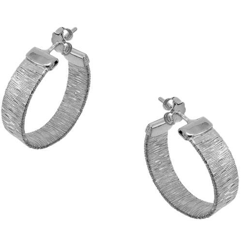 Ασημένια επιπλατινωμένα σκουλαρίκια κρίκοι 925