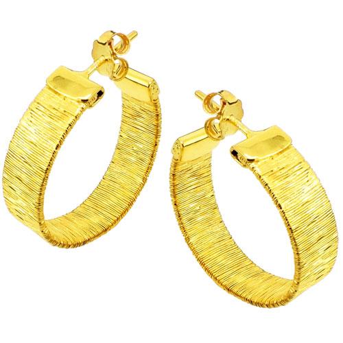 Ασημένια επιχρυσωμένα σκουλαρίκια κρίκοι 925