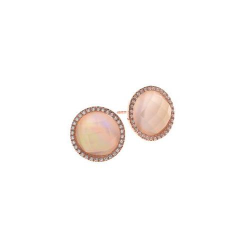 Ασημένια σκουλαρίκια 925 σε ροζ χρώμα με κρύσταλλα