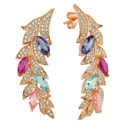 Ασημένια σκουλαρίκια 925 σε ροζ χρώμα