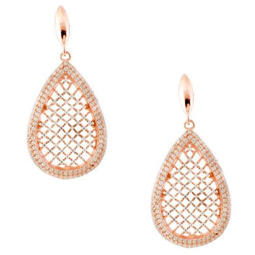 Ασημένια σκουλαρίκια σταγόνες 925 σε ροζ χρώμα