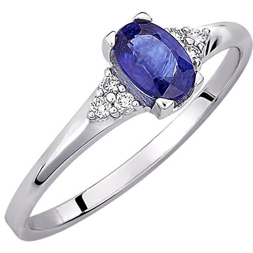 Λευκόχρυσο δαχτυλίδι Κ18 με ορυκτό ζαφείρι και brilliant