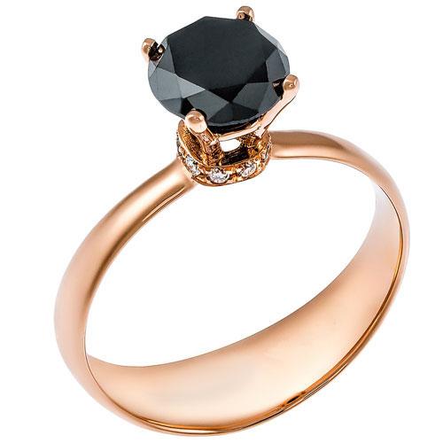 Μονόπετρο δαχτυλίδι από ροζ χρυσό Κ18 με black diamond
