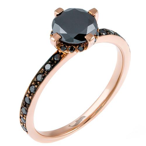 Μονόπετρο δαχτυλίδι από ροζ χρυσό Κ18 με black diamonds