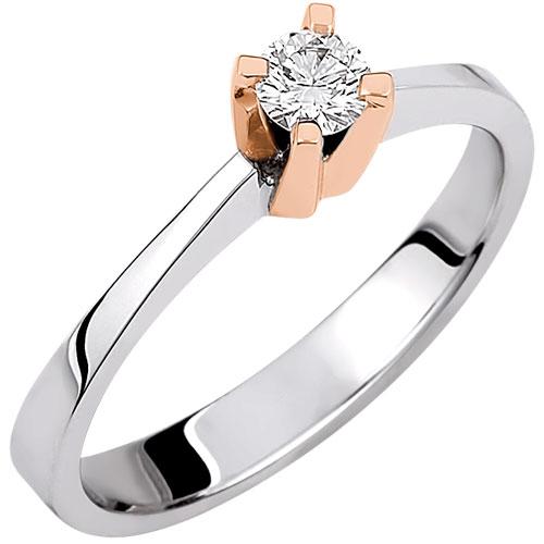 Λευκόχρυσο δαχτυλίδι μονόπετρο Κ18 με brilliant
