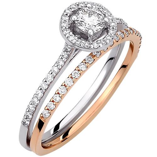 Δίχρωμο λευκό και ροζ χρυσό δαχτυλίδι Κ18 με brilliant