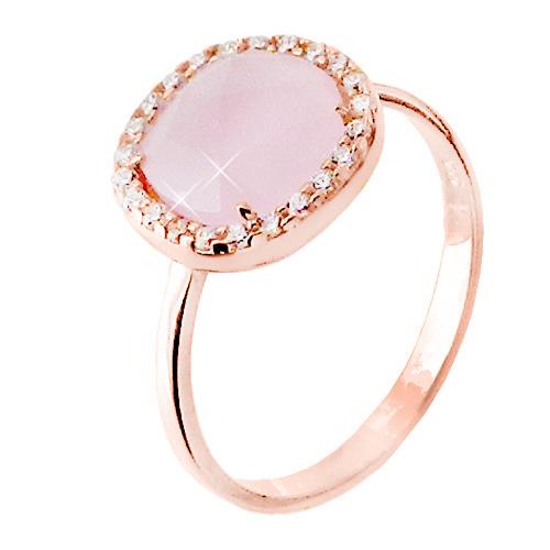 Δαχτυλίδι από ροζ χρυσό Κ14 με ζιργκόν και χαλαζία