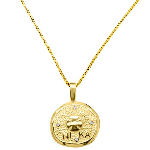 Χρυσό κωνσταντινάτο φυλαχτό Κ9 με αλυσίδα
