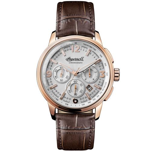 Ρολόι Ingersoll Regent πολλαπλών ενδείξεων με καφέ λουράκι I00101