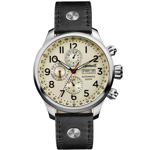 Ρολόι Ingersoll Delta Αυτόματο πολλαπλών ενδείξεων με μαύρο λουράκι I02301
