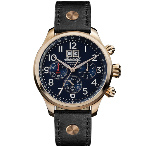 Ρολόι Ingersoll Delta χρονογράφος με μαύρο λουράκι I02401