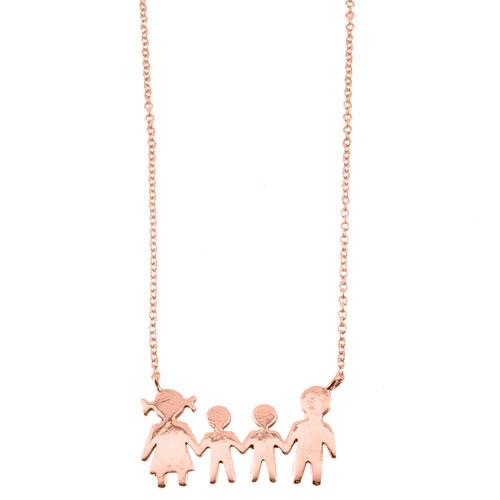 Κολιέ οικογένεια από ροζ χρυσό Κ14