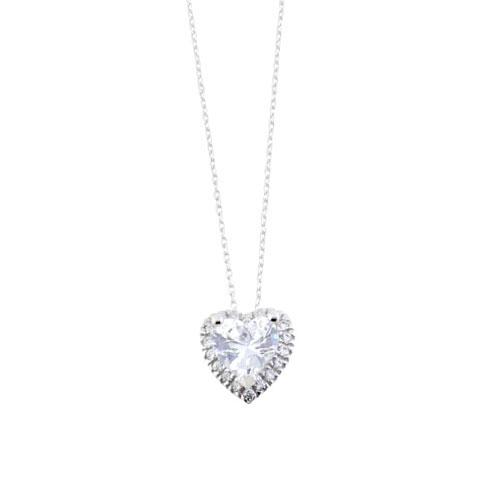 Λευκόχρυσο κολιέ καρδιά Κ14