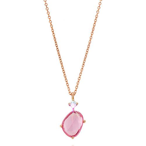 Κολιέ από ροζ χρυσό Κ18 με ορυκτό ζαφείρι και brilliant