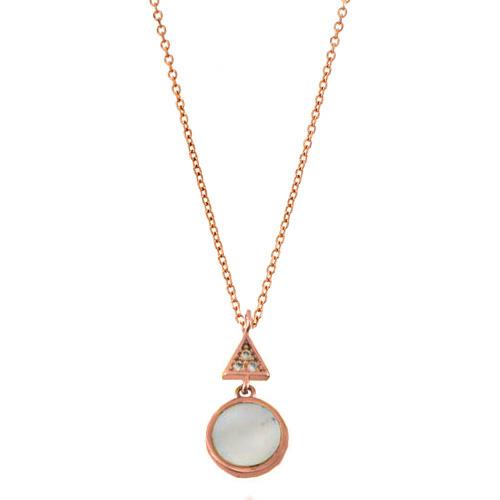 Κολιέ κύκλος από ροζ χρυσό Κ14 με φίλντισι