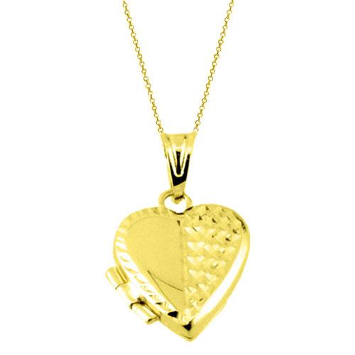 Χρυσό μενταγιόν καρδιά Κ14 με θέσεις για φωτογραφίες με αλυσίδα