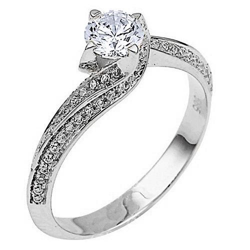 Λευκόχρυσο μονόπετρο δαχτυλίδι Κ14 με ζιργκόν