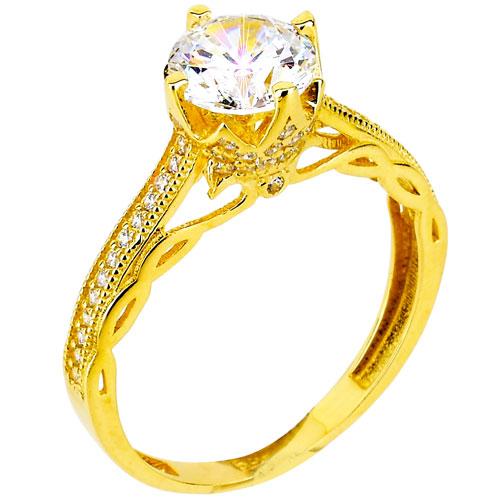 Χρυσό μονόπετρο δαχτυλίδι Κ14 με ζιργκόν