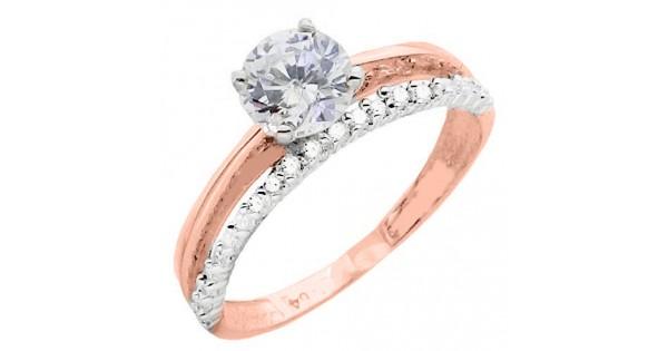 Μονόπετρο δαχτυλίδι από ροζ χρυσό Κ14 με ζιργκόν cf6270978e0