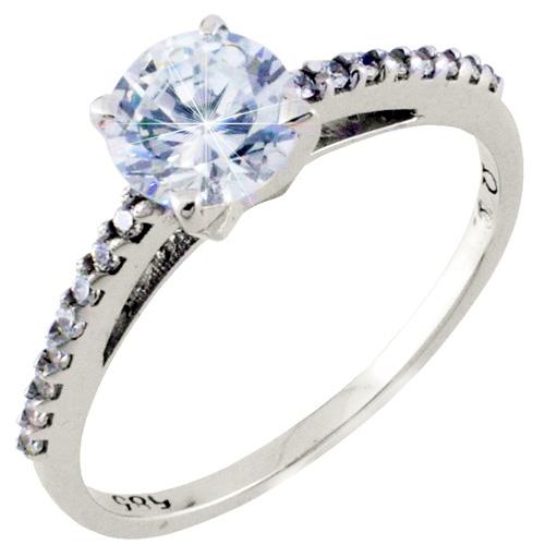 Λευκόχρυσο μονόπετρο δαχτυλίδι Κ14 με ζιργκόν 462421875ea
