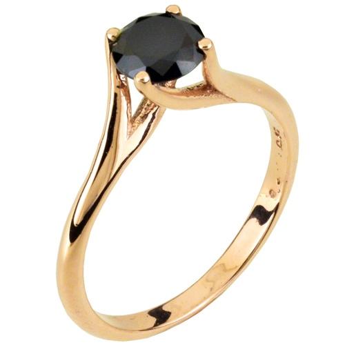 Δαχτυλίδι μονόπετρο από ροζ χρυσό Κ14 με ζιργκόν