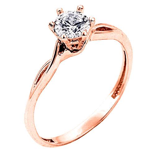 Μονόπετρο δαχτυλίδι από ροζ χρυσό Κ14 με ζιργκόν 3943502b0bd