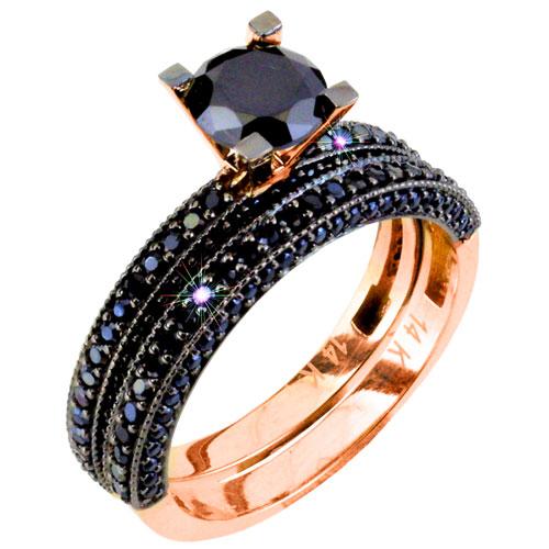 Μονόπετρο και σειρέ δαχτυλίδι από ροζ χρυσό Κ14 με μαύρα ζιργκόν