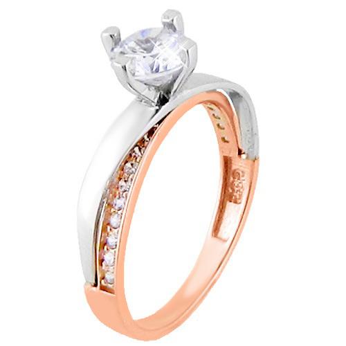 Μονόπετρο δαχτυλίδι σε ροζ και λευκό χρυσό Κ14