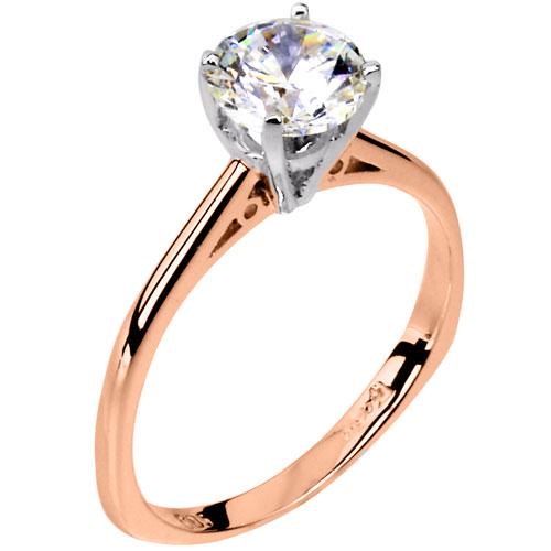 Ροζ χρυσό μονόπετρο δαχτυλίδι Κ14 με ζιργκόν