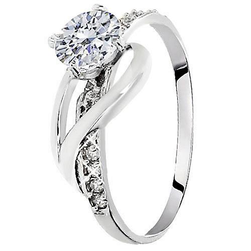 Λευκόχρυσο μονόπετρο δαχτυλίδι  Κ14
