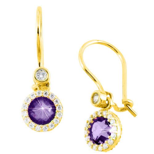 Χρυσά σκουλαρίκια Κ14 με ζιργκόν