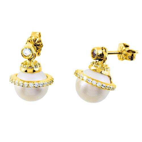 Χρυσά σκουλαρίκια Κ14 με μαργαριτάρια