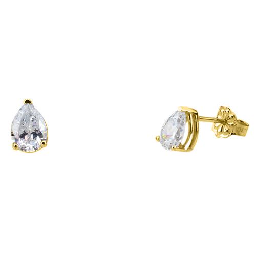 Χρυσά σκουλαρίκια σταγόνες Κ14 με ζιργκόν