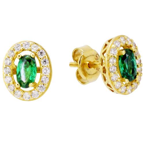 Χρυσά σκουλαρίκια οβάλ Κ14 με ζιργκόν