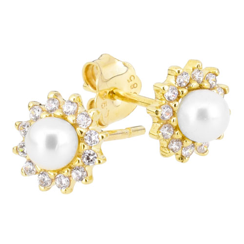 Χρυσά σκουλαρίκια Κ14 με μαργαριτάρι
