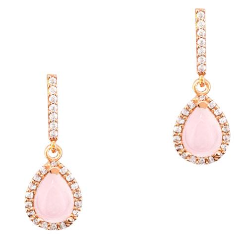 Ροζ χρυσά σκουλαρίκια σταγόνες Κ14 με ορυκτό χαλαζία