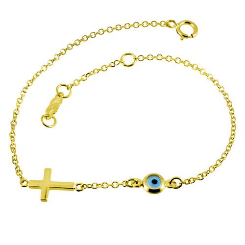 Χρυσό βραχιόλι Κ14 με σταυρό
