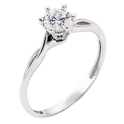 Λευκόχρυσο μονόπετρο δαχτυλίδι Κ9